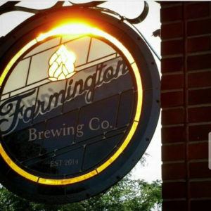 our new stained glass sign hangs in the front of our brewery off of Grand River