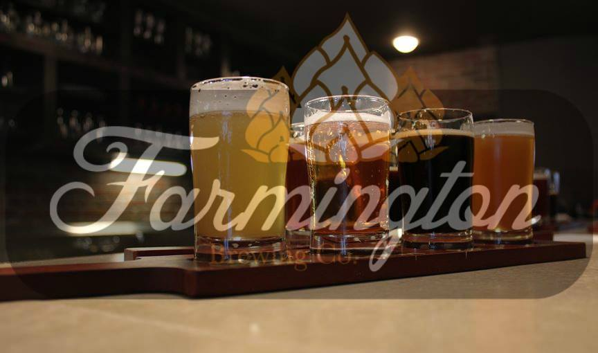 flight of beers with farmington brewing company logo